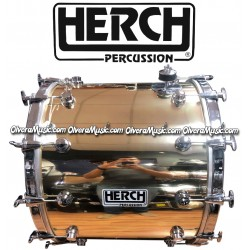 HERCH Bass Drum 20x24 Gold Color w/Chrome Hardware 12-Lug
