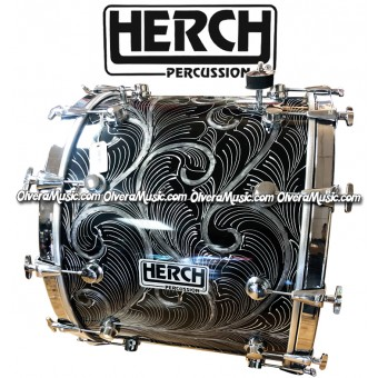 HERCH Bass Drum 18x24 Black w/Engraving 12-Lug