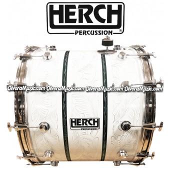 HERCH Bass Drum 20x24 White w/Engraving Green-Stripes 12-Lug