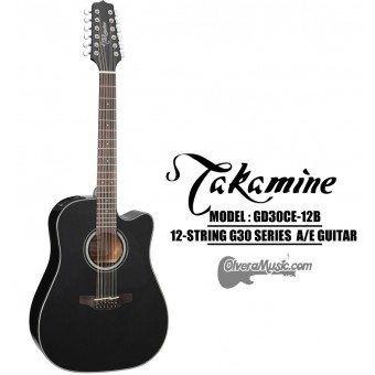 TAKAMINE G30 Series Acoustic/Electric 12-String Guitar - Black