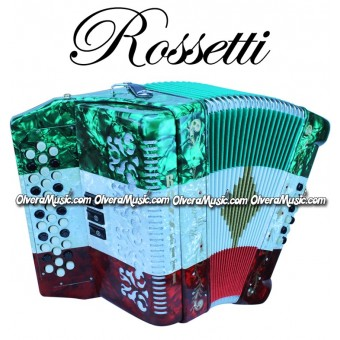 ROSSETTI Diatonic Button Accordion - TriColor Red-White-Green