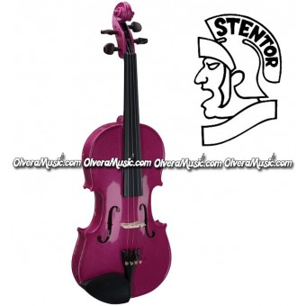 """STENTOR """"Harlequin Series"""" Student Model Violin Outfit - Raspberry Pink"""