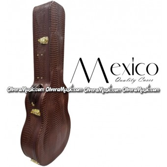 MEXICO Hard Shell Bajo Quinto Case - Brown