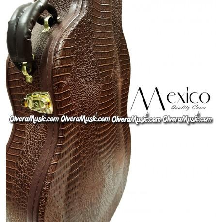 MEXICO Hard Shell Bajo Quinto Case - Brown