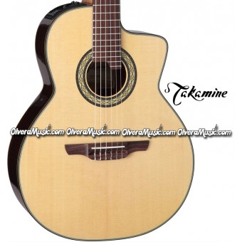 TAKAMINE Classical 24-Fret Cutaway Acoustic/Electric Guitar - Gloss Natural Finish