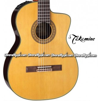 TAKAMINE Classical Cutaway Acoustic/Electric Guitar - Natural/Black Gloss Finish