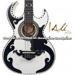 ALI ACHA Professional Bajo Quinto German Pine Double Cut-Away - Pearl White