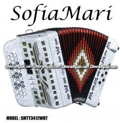 SOFIAMARI 2-Tone Diatonic Button Accordion - Pearl White