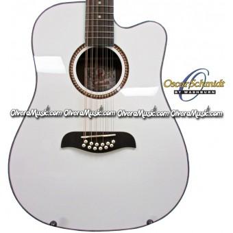 OSCAR SCHMIDT by Washburn Dreadnought A/E 12-String Cutaway Guitar - White