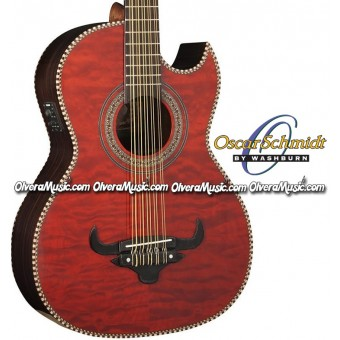OSCAR SCHMIDT by Washburn Traditional Bajo Quinto - Quilt Trans Red