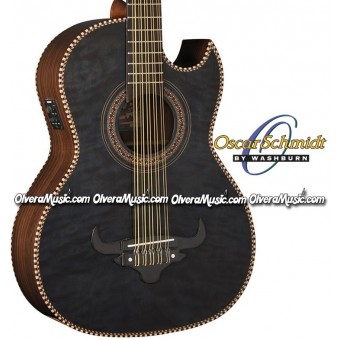 OSCAR SCHMIDT by Washburn Traditional Bajo Quinto - Quilt Trans Black