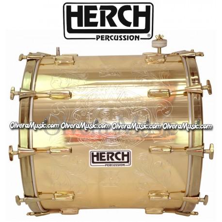 Herch 20x22 Turbo Bass Drum Gold Color Aztec Sun Design w/Engraving