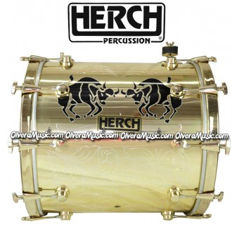 HERCH Bass Drum 20x20 Engraved Taurus Design - Gold Color