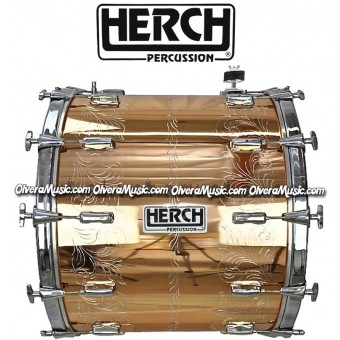 Herch 20x24 Bass Drum Turbo Copper Color w/Engraving 12-Lug