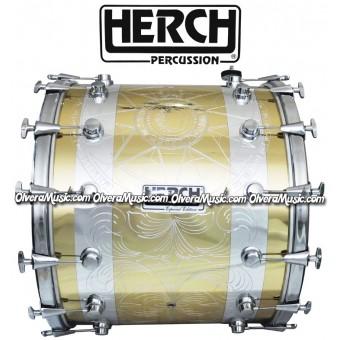 Herch 20x24 Bass Drum Sun & Moon Design Gold/Chrome Color Combination 12-Lug