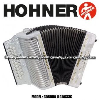 HOHNER Corona II Classic Acordeón de Boton - Blanco Perla