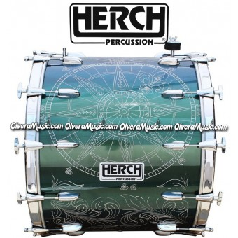 Herch 24x20 Bass Drum Compass Design Chameleon/Green Color Effect 12-Lugs