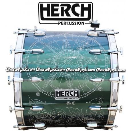 Herch 24x20 Bass Drum Compass Design Chameleon/Green Color Effect 12-Lugs