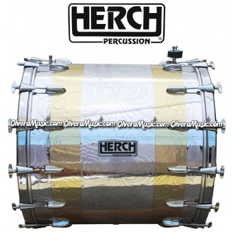 Herch 24x24 Bass Drum Combined Chrome & Gold Color w/Engraving 14-Lugs