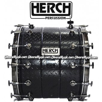 Herch (JUNIO1) 20x24 Metal Bass Drum w/Threaded Metal Imprint Design - New Model