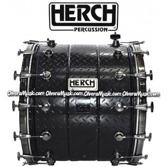 Herch (JUNIO1) Tambora 20X24 Negra de Metal c/Grabado Impreso - Modelo Nuevo