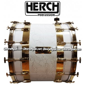 HERCH 20x24 Bass Drum White Engraved w/2-Gold Color Stripes 14-Lug