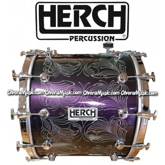 HERCH Bass Drum 20x24 Chameleon Color Effect Engraved 12-Lug