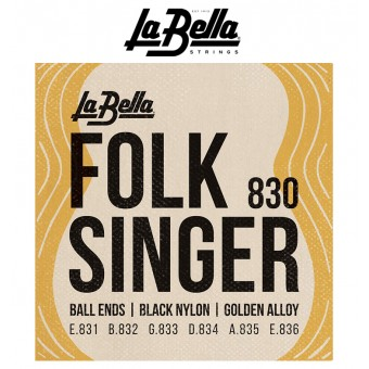 LaBella (830) Folk Singer Ball End Blk Classical Guitar Strings