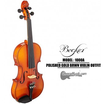BECKER 1000 Series Polished Gold Brown Violin Outfit