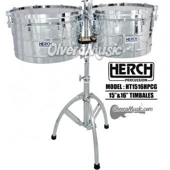 "HERCH Timbales 15"" and 16"" Engraved/Chrome"