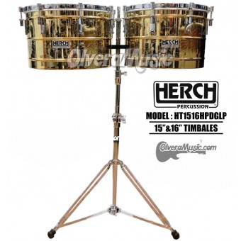 "HERCH Timbales 15""&16"" Engraved HP Model - Brass Finish"