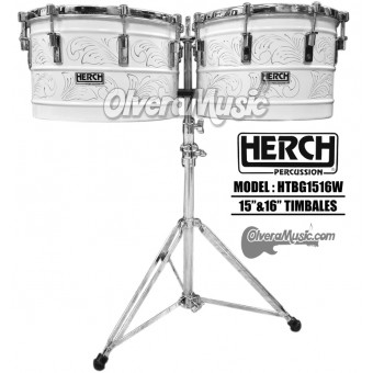 """HERCH Timbales 15""""&16"""" White w/Engraving"""