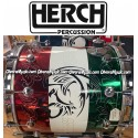 HERCH Bass Drum 20x20 Red,White,Green Engraved w/Tribal Eagle 10-Lug