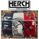 HERCH Bass Drum 22x24 Blue,White,Red Engraved w/Tribal Eagle 10-Lug