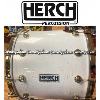 HERCH Bass Drum 20x24 White w/Engraving 12-Lug