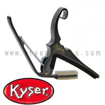 Kyser (KG6BC) Quick Change Capo Para Guitarra Acustica de 6 Cuerdas En Negro Cromado