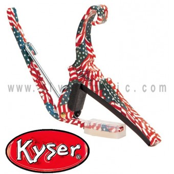 Kyser (KG6F) Quick-Change Capo Guitarra Acustica En Color Libertad Rojo/Blanco/Azul