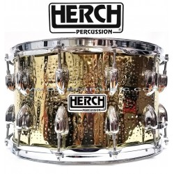 HERCH Snare 14X8 Gold Color Hammered Design 12-Lug