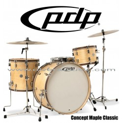 """PDP """"Concept Maple Classic Series"""" 4-Piece Drum Set  - Matte Natural Walnut Stain Hoops"""