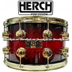 HERCH Snare 14x8 Red w/Black Color Engraved 10-Lug