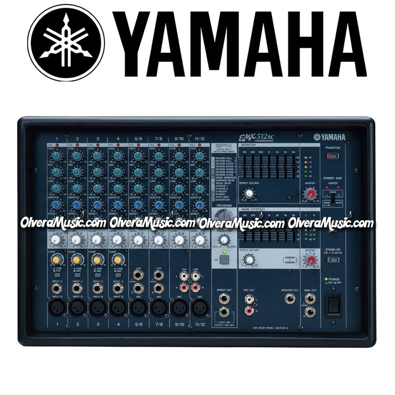 yamaha 12 channel stereo powered mixer olvera music. Black Bedroom Furniture Sets. Home Design Ideas